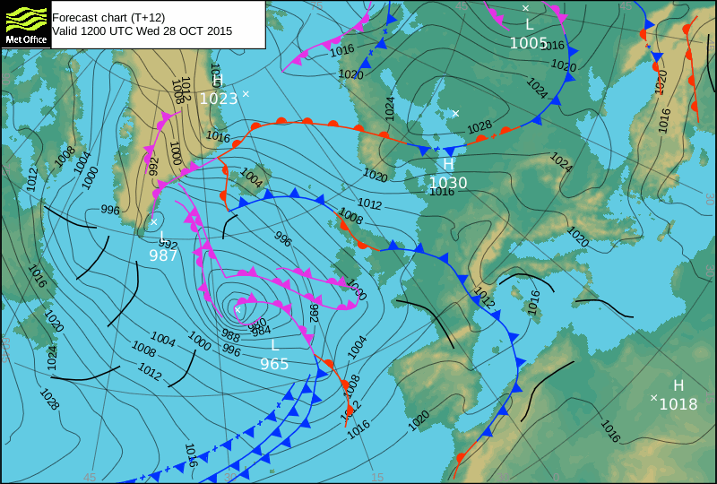 Met Office forecast chart - 28 October 2015