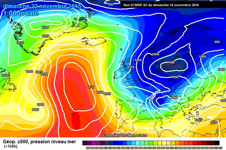 ECM pressure chart via Meteociel - Weather to Ski - Today in the Alps, 15 November 2015