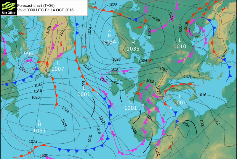 Met Office chart – Weather to ski – Today in the Alps, 13 October 2016