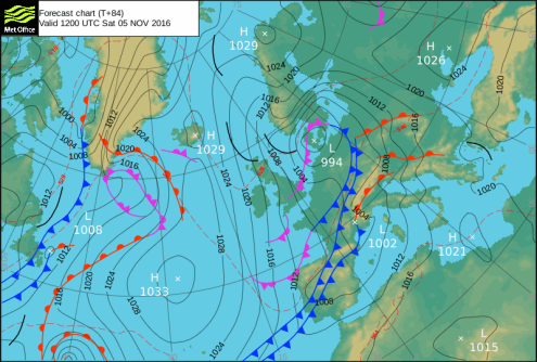 Met Office pressure chart – Weather to ski – Today in the Alps, 2 November 2016