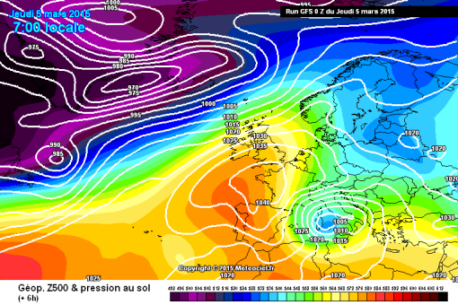 GFS pressure chart - 5 March 2015