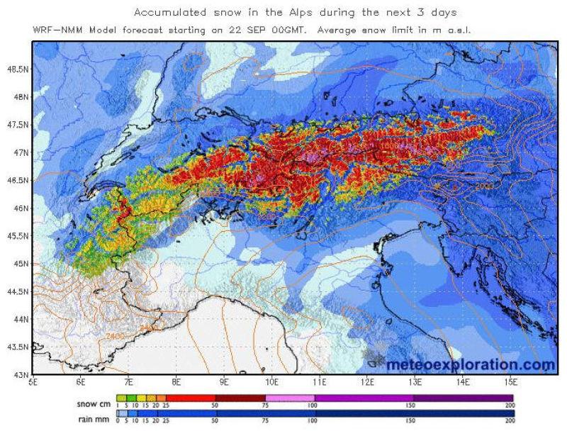 Snowfall chart Alps - Image: meteoexploration.com