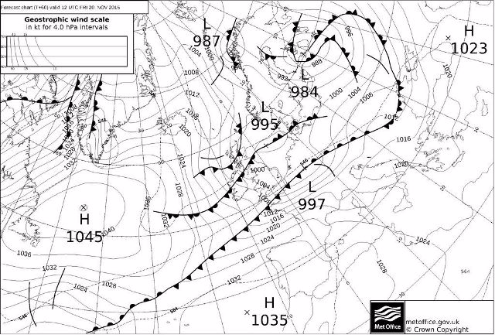 Met Office pressure chart, 12pm Friday 20 November 2015 - Weather to ski - Today in the Alps, 18 November 2015