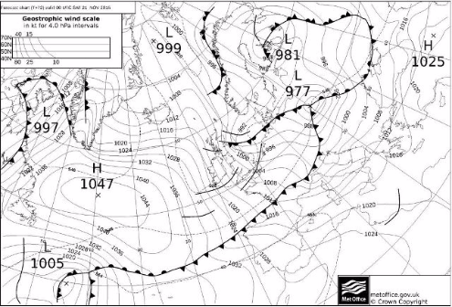 Met Office pressure chart, 12am Saturday 21 November 2015 - Weather to ski - Today in the Alps, 18 November 2015