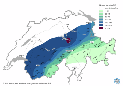 SLF chart showing current snow depths as a percentage of the long term average - Weather to ski - Season progress report, 30 November 2015
