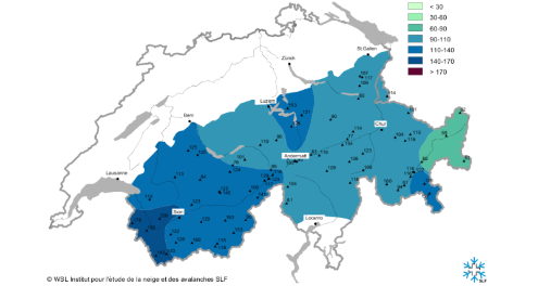 SLF chart showing snow depths in Switzerland as a percentage of the long term average - Weather to ski - Season progress report, 10 March 2016