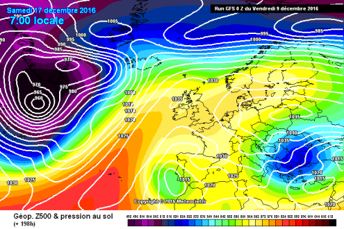 GFS surface pressure chart for Saturday 17 December 2016 – Weather to ski – Today in the Alps, 9 December 2016
