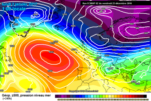 ECM surface pressure chart for 2 January 2017 – Weather to ski – Today in the Alps, 23 December 2016