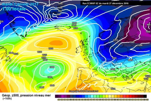 ECM weather model for 2 January 2017 – Weather to ski – Today in the Alps, 27 December 2016