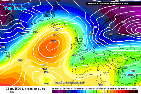 GFS weather model for 1 January 2017 – Weather to ski – Today in the Alps, 27 December 2016