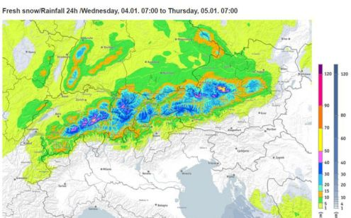 Bergfex predicted snowfall chart for the 24 hour period starting 7am Wednesday 4 January 2017 – Weather to ski – Today in the Alps, 2 January 2017