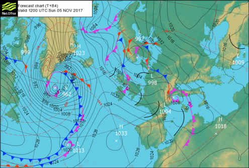 Met office surface pressure chart for Sunday 5 November 2017 – weather to ski – Today in the Alps, 2 November 2017
