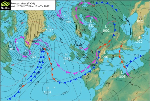 Met Office chart showing the arrival of a cold front on Sunday 12 November 2017 – Weather to ski – Today in the Alps, 11 November 2017