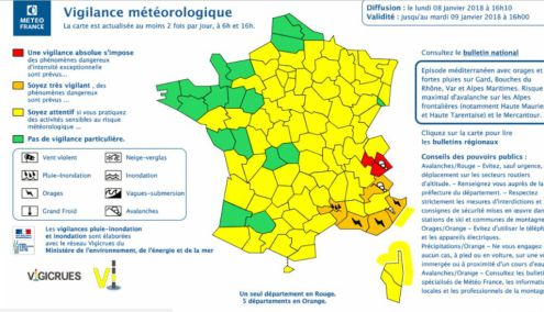 "Météo France ""Code Red"" warning for the Savoie region – Weather to ski – Today in the Alps, 8 January 2018"