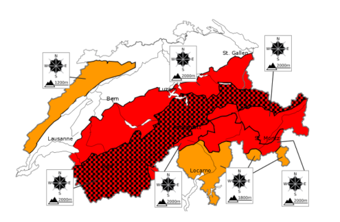 SLF chart showing avalanche danger in the Swiss Alps on 22 January 2018 – Weather to ski – Today