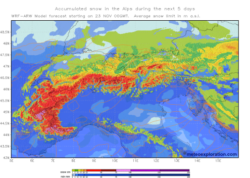 Meteoexploration chart showing predicted accumulated snowfall in the Alps – Weather to ski – Today in the Alps, 23 November 2018