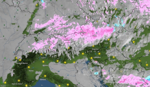 Wetter Online chart showing snowfall at 9am 2 January 2019 – Weather to ski – Today in the Alps, 2 January 2019