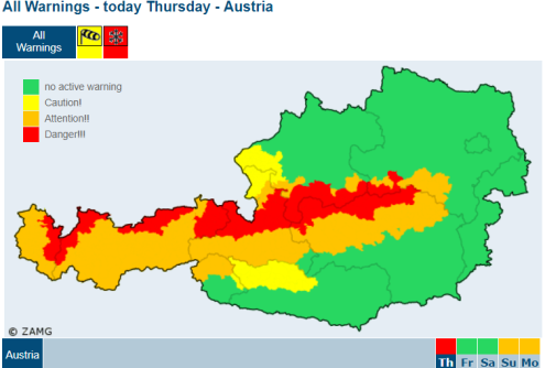 ZAMG map showing worst affected areas in Austria for snowfall on 10 January 2019 – Weather to ski – Today in the Alps, 10 January 2019