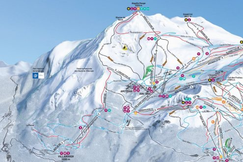 Aiguille Rouge piste on Les Arcs piste map - Weather to ski - Is this the best piste in the Alps?