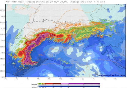 Accumulated snowfall forecast for the Alps between Wednesday 20 and Sunday 24 November 2019 – Weather to ski – Today in the Alps, 20 November 2019
