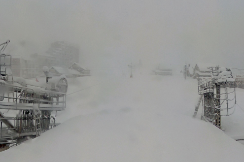 Blizzard in Isola 2000, France, on 23 November 2019 – Weather to ski – Today in the Alps, 23 November 2019