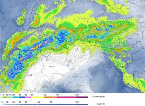 Bergfex chart showing expected snowfall totals in the Alps between 6 and 9 December 2019 – Weather to ski – Snow forecast, 6 December 2019