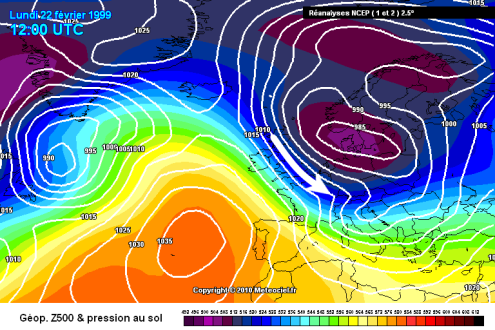 Meteociel chart from 22 February 1999 – Weather to ski – Complete guide to snowfall patterns in the French Alps