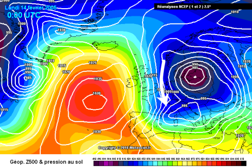 Meteociel chart from 14 February 2005 – Weather to ski – Complete guide to snowfall patterns in the French Alps