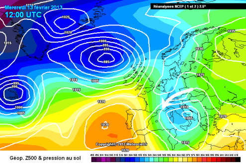 Meteociel chart from 13 February 2013 – Weather to ski – Complete guide to snowfall patterns in the French Alps