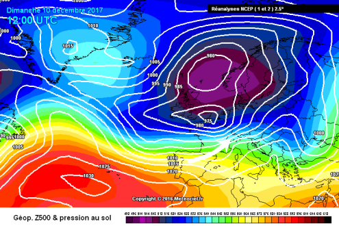 Meteociel chart from 10 December 2017 – Weather to ski – Complete guide to snowfall patterns in the French Alps