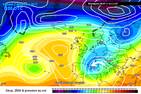 Meteociel chart from 2 December 2017 – Weather to ski – Complete guide to snowfall patterns in the French Alps