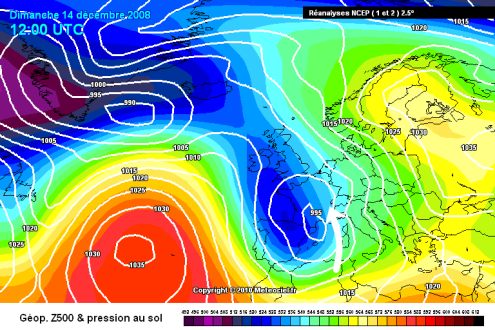 Meteociel chart from 14 December 2008 – Weather to ski – Complete guide to snowfall patterns in the French Alps
