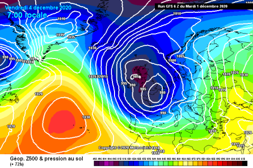 Meteociel chart showing surface pressure on Friday 4 December at 7am – Weather to ski – Today in the Alps, 1 December 2020